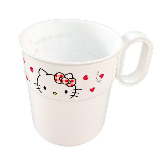 【領券折$30】小禮堂 Hello Kitty 日製 塑膠 水杯組 單耳 漱口杯 派對杯 300ml (4入 紅白 愛心)