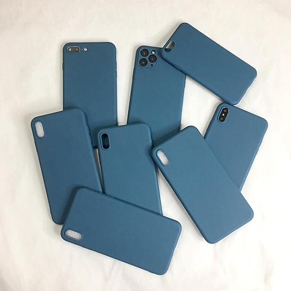 蘋果X手機殼iphone11 pro max硅膠xr藍色8plus純色軟套7p男6s