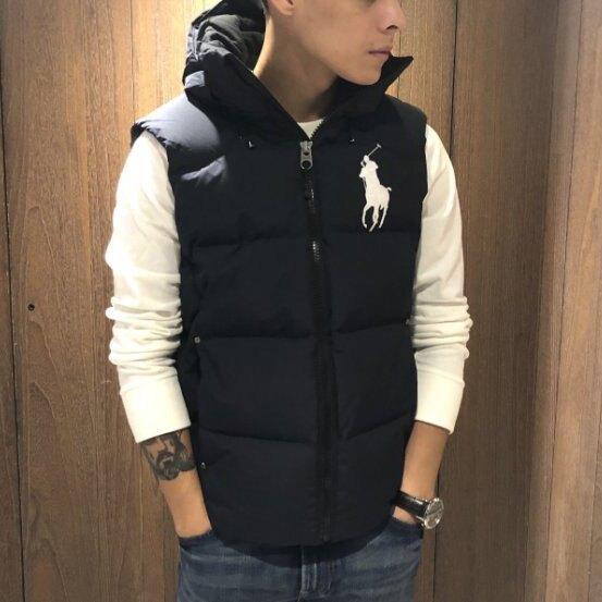 美國百分百【Ralph Lauren】背心 馬甲 RL 無袖外套 Polo 大馬 羽絨 連帽 保暖防寒  J875