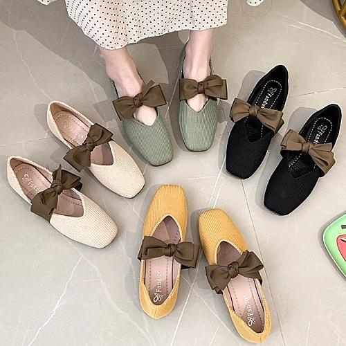 娃娃鞋.韓版復古瑪莉珍雪紡繞帶平底包鞋.白鳥麗子