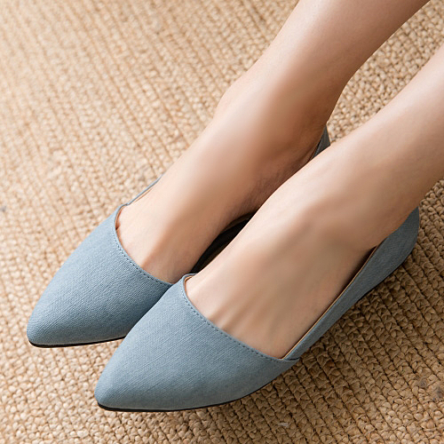 白鳥麗子 平底鞋 訂製款 MIT氣質毛呢拼色金屬尖頭包鞋
