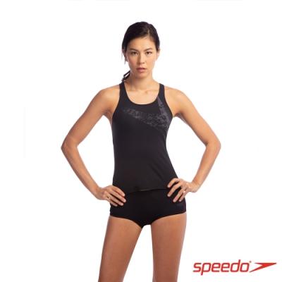 SPEEDO 女 運動兩截式平口泳裝 Boomstar Placement 黑/灰