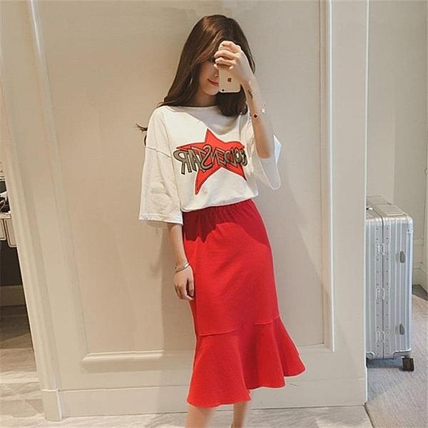 兩件式洋裝 夏季新款女韓版小清新A字裙子兩件套時尚顯瘦學生連身裙套裝 【全館免運】