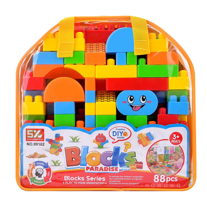 積木袋 79片 大顆粒積木 幾何形狀積木 附收納袋 安全積木 積木玩具 9102
