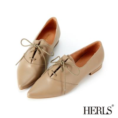 HERLS牛津鞋-全真皮皺摺綁帶尖頭牛津鞋-卡其色