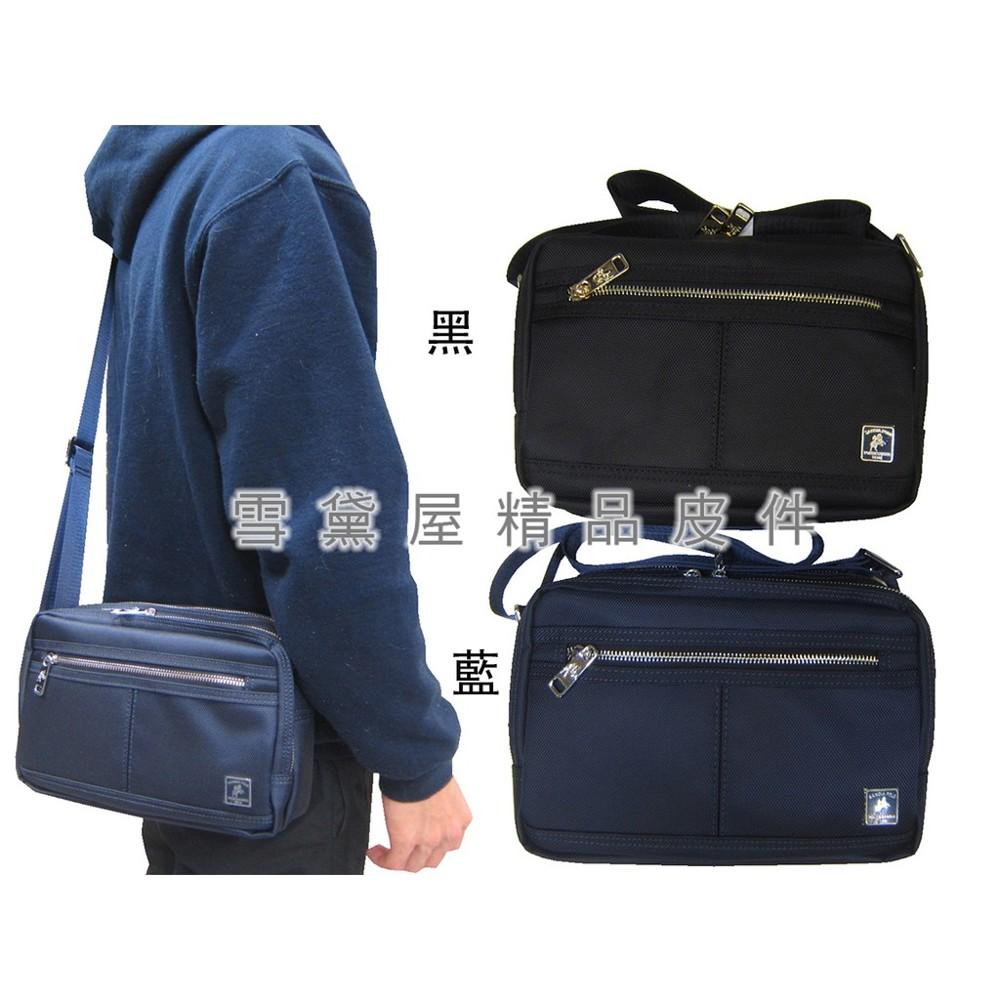 ~雪黛屋~sandia-polo 斜側包中小容量二層主袋進口防水尼龍布材質隨身物品中性可肩斜背bsp