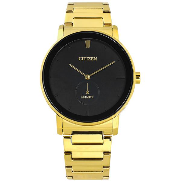 CITIZEN / BE9182-57E / 簡約時尚 礦石強化玻璃 日本機芯 不鏽鋼手錶 黑x鍍金 42mm