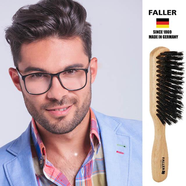 德國FALLER芙樂梳具刷具 德國製原色櫸木黑豚鬃隨身美髮梳 防靜電柔順直髮