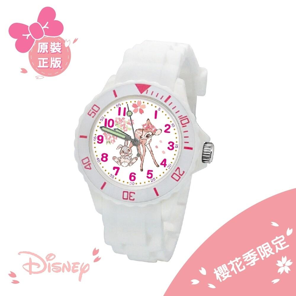disney迪士尼小鹿斑比 櫻花季限定運動彩帶手錶_白(正版授權/中型)