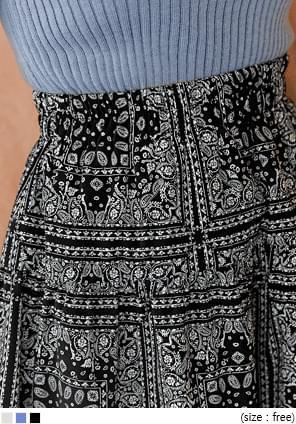 韓國空運 - 民族風印花鬆緊腰短裙 裙子