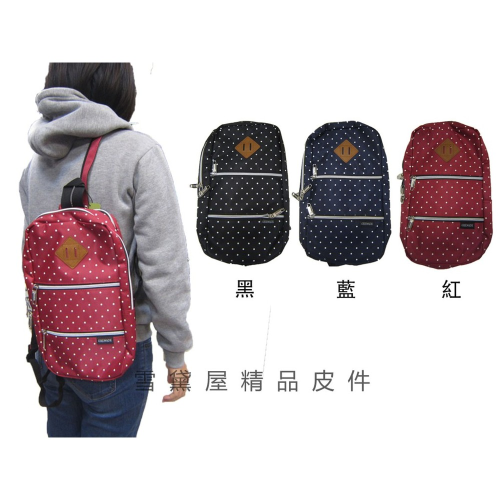 ~雪黛屋~grenade 後背包小容量二層主袋8寸平板護套單左右肩雙後背防水尼龍布隨身重要物品青少童