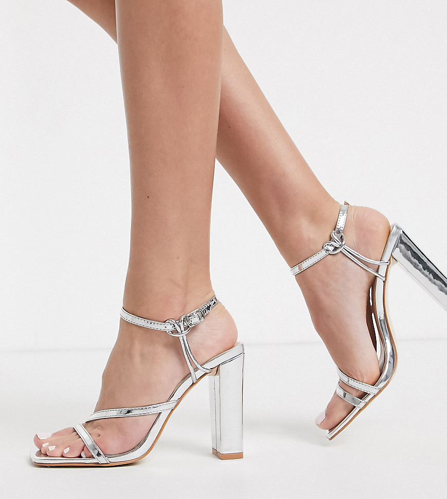 Simmi London Exclusive Dymond block heeled sandals in silver mirror