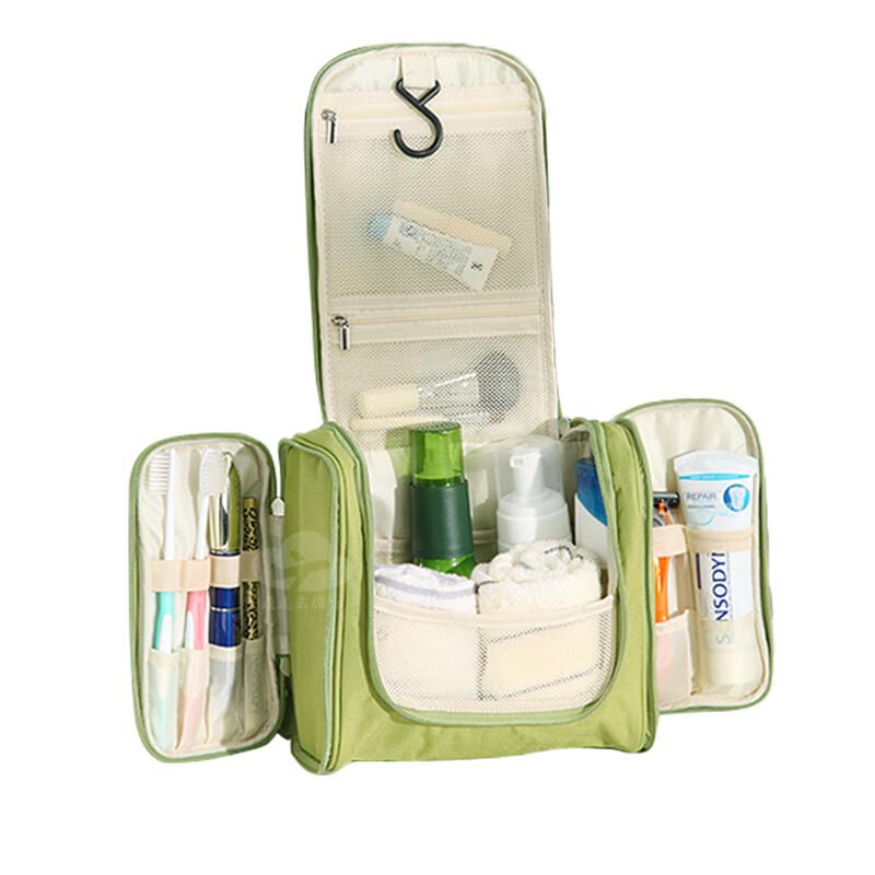 多功能可掛式左右側開盥洗包 三門掛勾化妝包 防潑水洗漱袋 旅遊盥洗用具收納包 4色