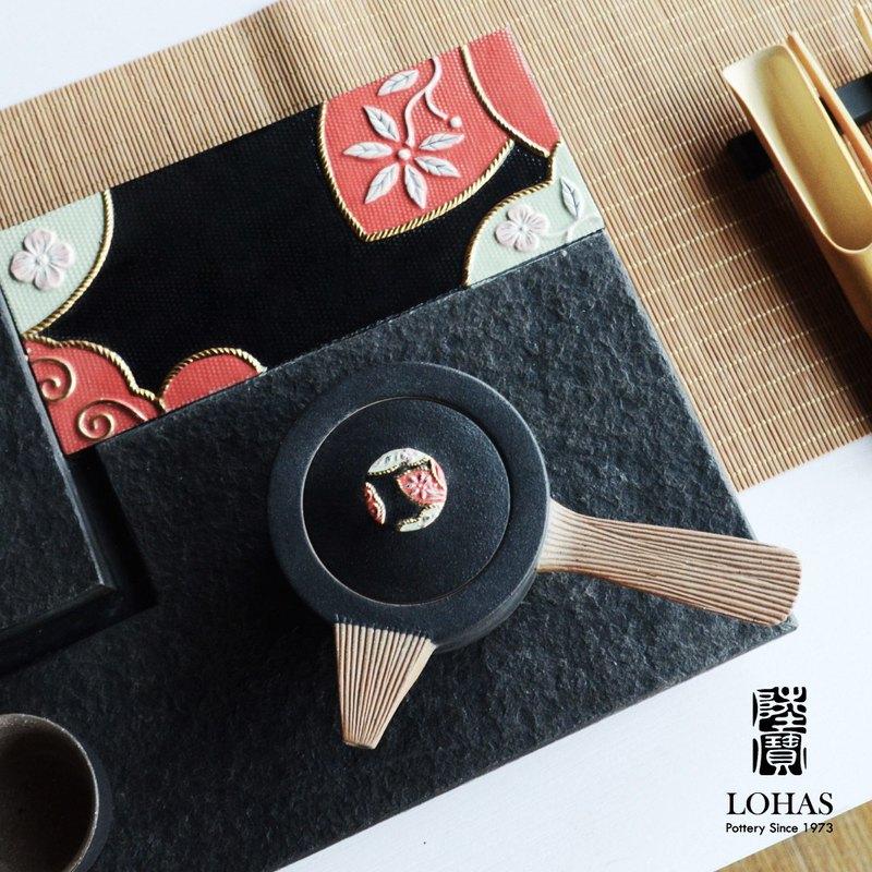 刺繡如意茶組  一壺一海六杯 雙壺設計 浮雕手繪壺鈕 東方茶器