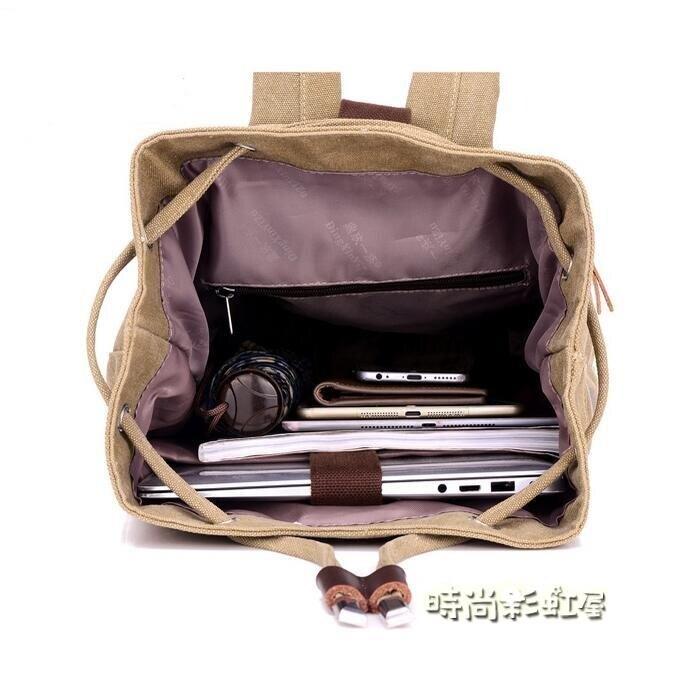帆布水桶雙肩包籃球包戶外運動休閒大容量電腦背包旅行包學生書包