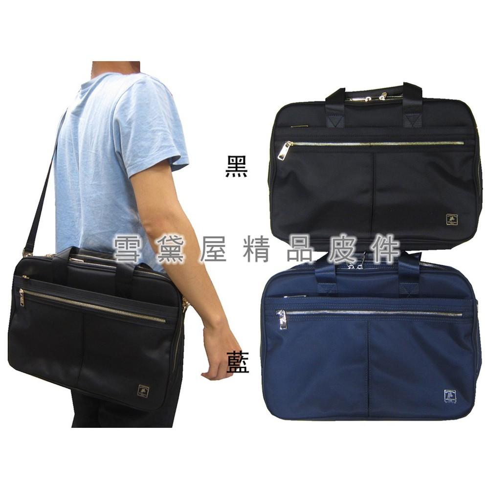 ~雪黛屋~sandia-polo 公事包中小容量二層主袋可a4資料夾進口防水尼龍布可手提肩斜背bsp