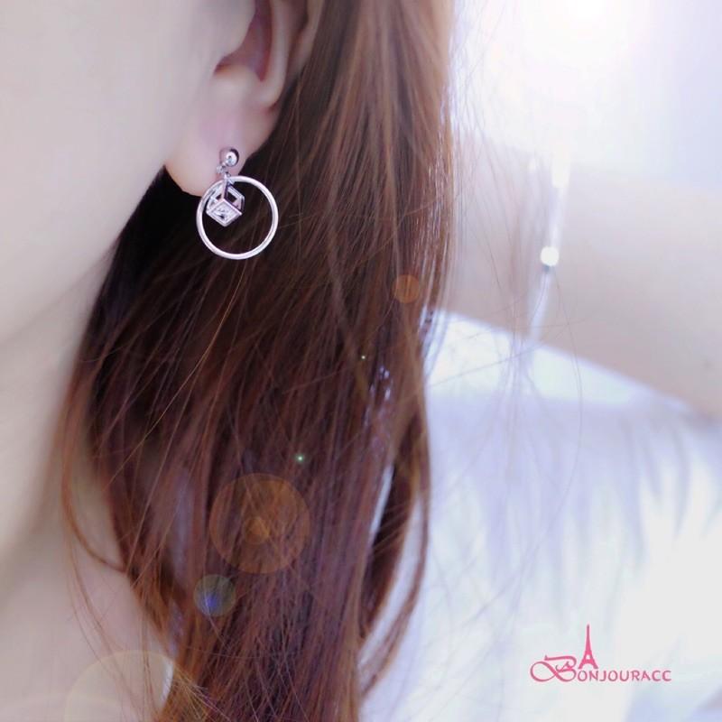 韓國立體方塊小圈 耳環 夾式 針式 925銀針bonjouracc