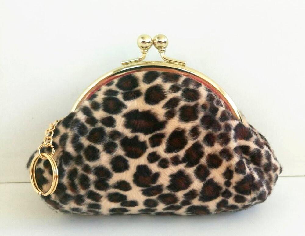 台灣製 豹紋絨毛夾框包-l 零錢包 手拿包