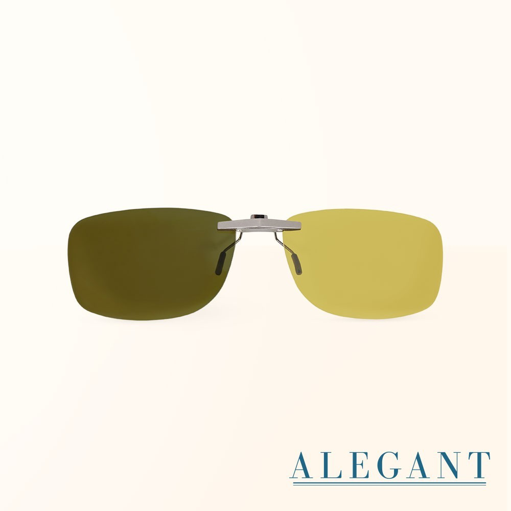 檸檬黃鋁鎂合金夾式結構感光變色夜視防眩光寶麗來偏光太陽眼鏡uv400墨鏡車用夾片alegant