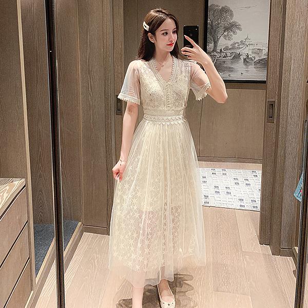 超殺29折 韓國風蕾絲拼接網紗收腰顯瘦氣質短袖洋裝