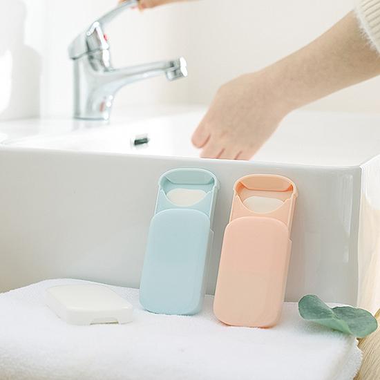香皂紙 洗手紙 肥皂紙 滑蓋 隨身 補充包 防疫 外出 旅行 清潔 簡約滑蓋皂紙(10入)【T004】慢思行