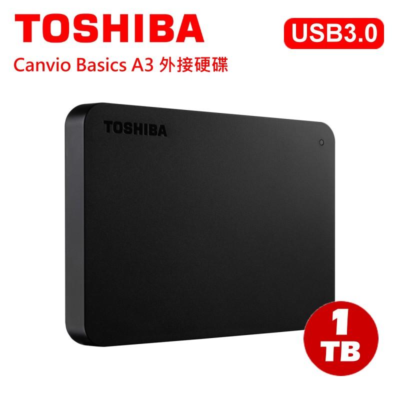 Toshiba Canvio Basics A3 黑靚潮lll 1TB 2.5吋 外接式硬碟 三年保固