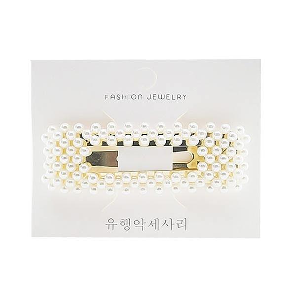 韓國氣質珍珠方形大BB夾(1入)【小三美日】髮飾