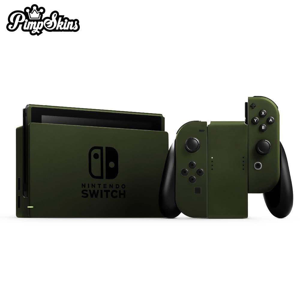 【PimpSkins】  任天堂 Nintendo Switch 專用包膜貼紙 貼膜貼紙-消光軍綠