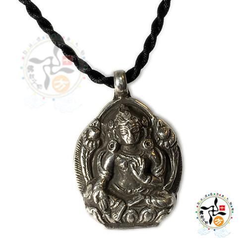 綠度母 925銀+黑繩項鍊十方佛教文物