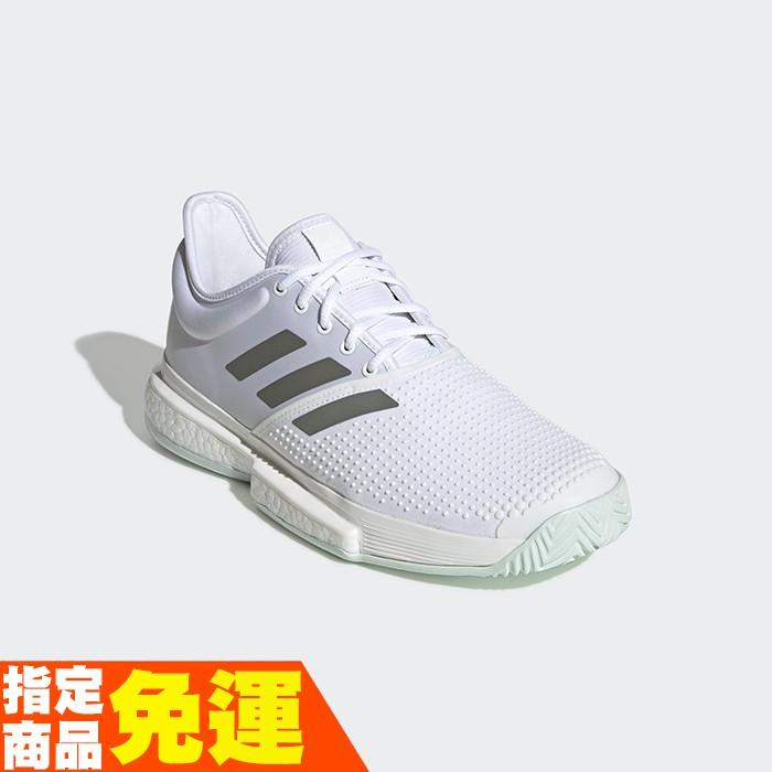 ADIDAS 男款網球鞋 SOLECOURT BOOST系列 職業球員御用款 EG1482 白灰 贈護腕 20SS
