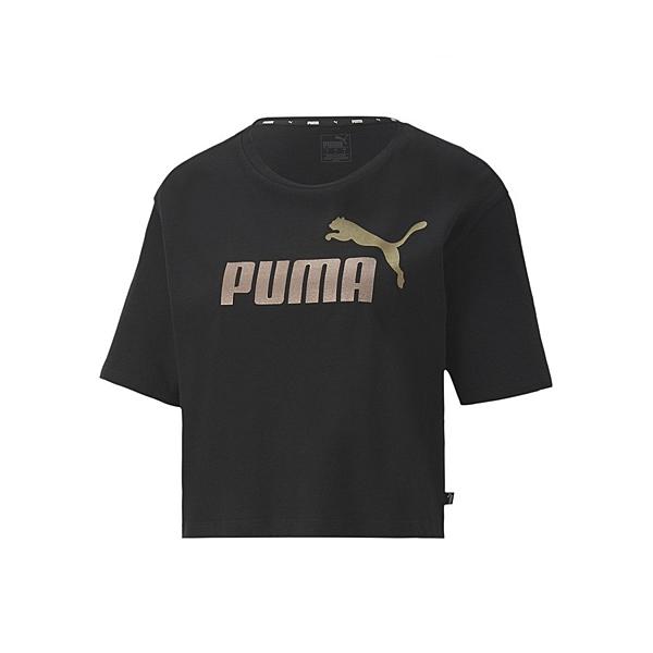 PUMA基本系列女款黑色短版短袖上衣-NO.58287851