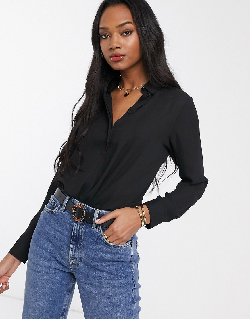 ASOS DESIGN soft long sleeve shirt black