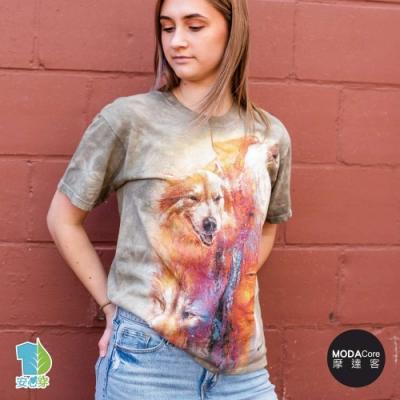 摩達客-美國進口The Mountain 女巫醫與狼  純棉環保藝術中性短袖T恤
