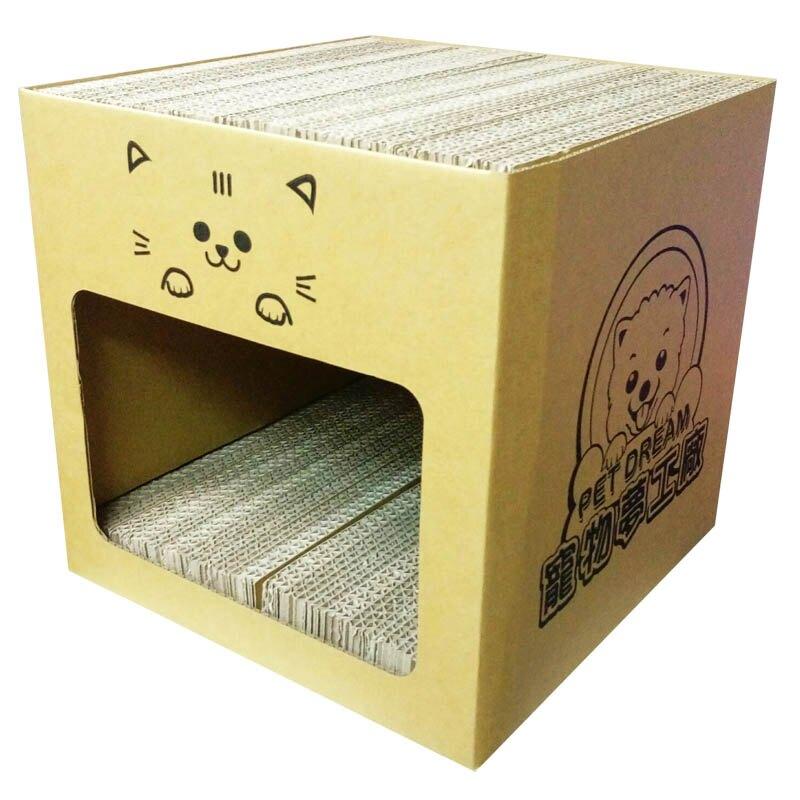 耐抓貓屋 MIT寵物夢工廠貓抓屋 內含4片貓抓板 貓磨爪 貓玩具 瓦楞紙 紙抓板 貓抓屋 貓舒壓
