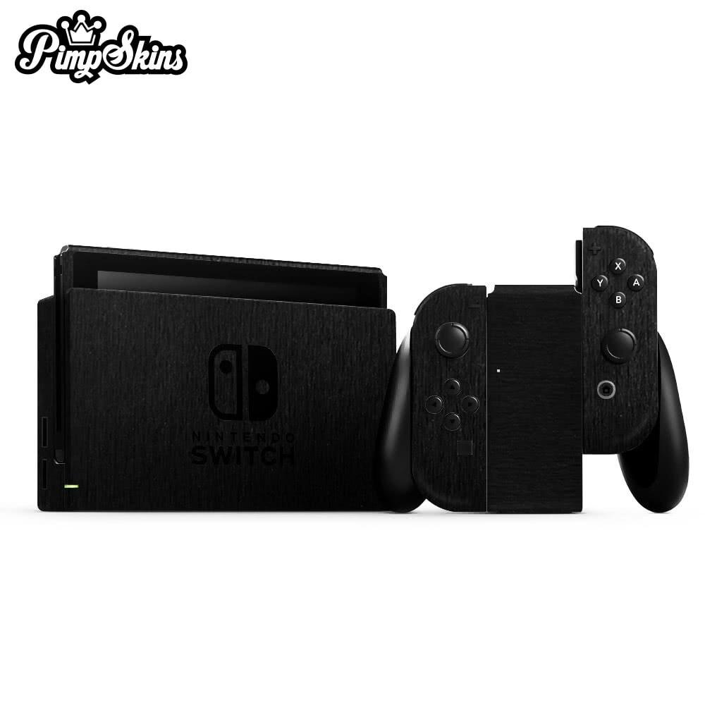【PimpSkins】任天堂 Nintendo Switch 專用包膜貼紙 貼膜貼紙- 拉絲金屬黑(立體)