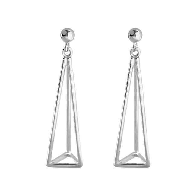 925純銀 立體空心三角形 垂墜耳環耳針釘-金銀 防抗過敏 無耳洞可改夾