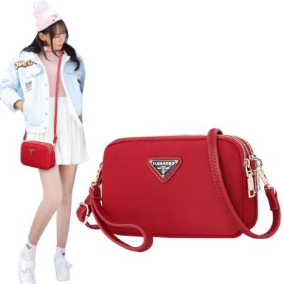 幸福揚邑 潮流時尚簡約三層拉鍊兩用手拿手提肩背斜背小包手機包相機包-橫包-紅
