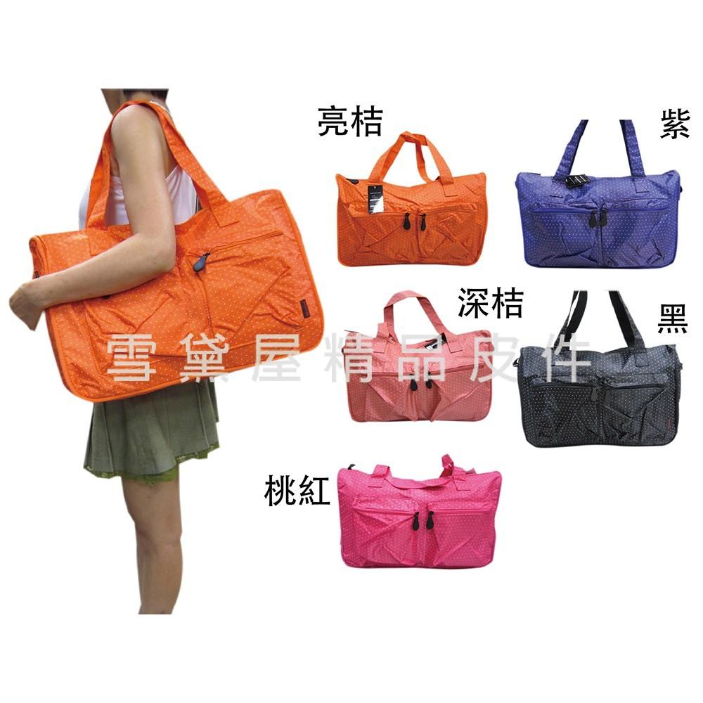 ~雪黛屋~x-treme 旅行袋購物袋中容亮點點可愛旅行袋防水尼龍布材質超好收納不占空間附活動型長背