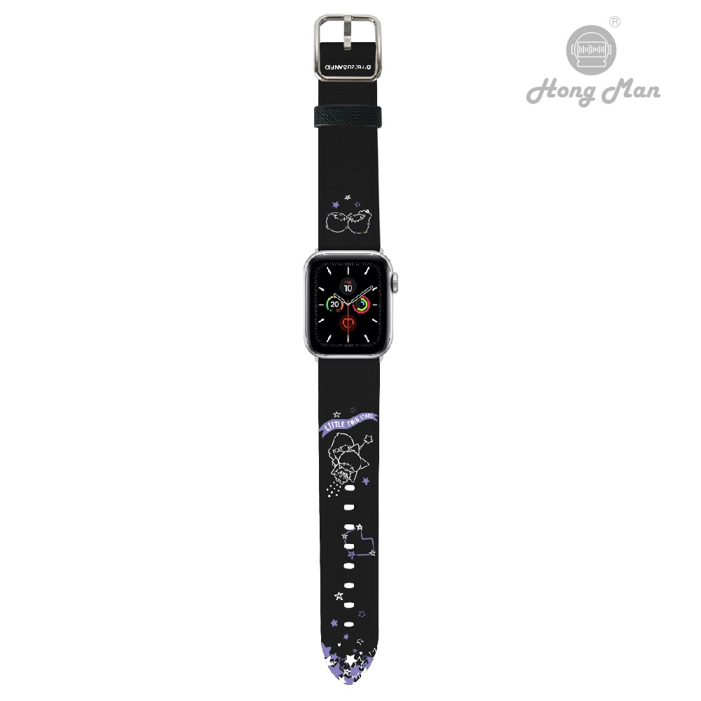 【Sanrio三麗鷗】正版授權 雙子星 Apple Watch 皮革錶帶 38/42/40/44 康文 黑色 玫瑰金