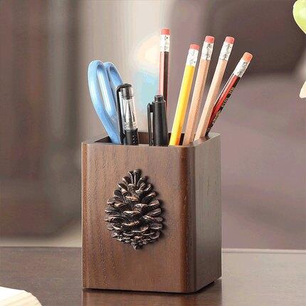 筆筒 那瀾多好創意時尚可愛筆筒實木美式復古木質歐式化妝刷桌面收納盒『MY2121』
