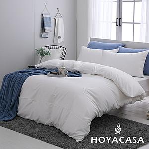 贈舒眠枕2入-HOYACASA時尚覺旅-雙人300織長纖細棉被套床包四件組-多款任選時尚白