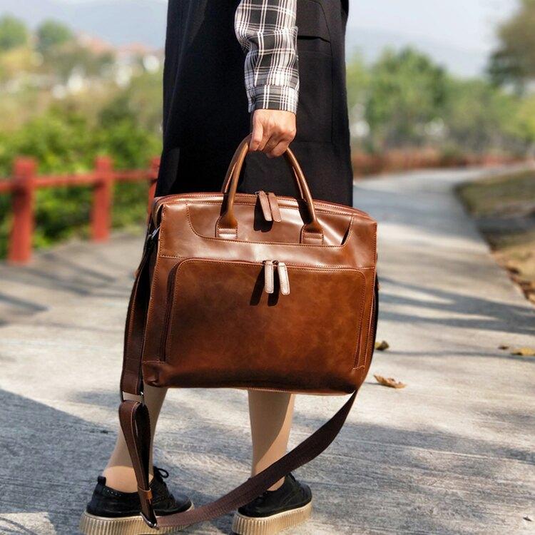 公事包復古女包手提包公事包女電腦包公事包多夾層時尚側背斜背包皮文藝
