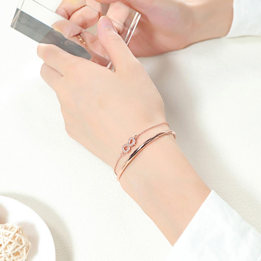 雙層無限符號c型銅鍍金手環-cka548