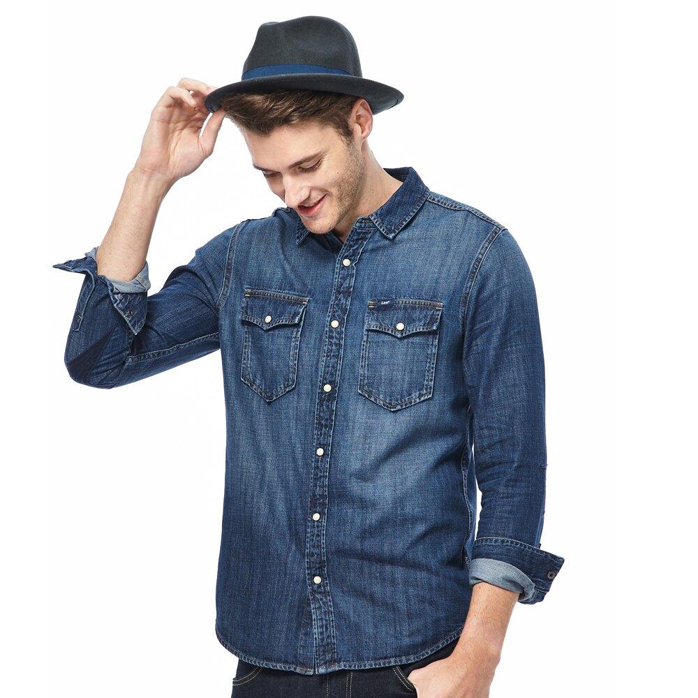 Lee 牛仔長袖襯衫 男款 藍