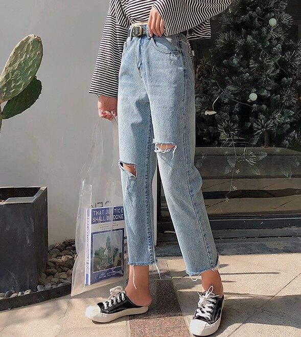 復古色刷破牛仔長褲 #064