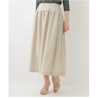 GIANNI LO GIUDICE 切り替えギャザーデザインミモレ丈スカート その他 スカート,オフホワイト