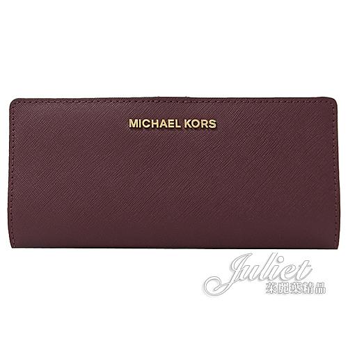 茱麗葉精品【全新現貨】MICHAEL KORS Jet Set Travel 對折扣式長夾.紫紅