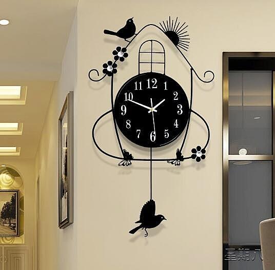 掛鐘 鐘表掛鐘客廳創意簡約現代時尚時鐘掛墻臥室家用表靜音夜光鐘