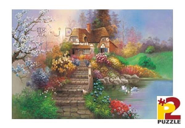 【台製拼圖】油畫系列 花園小屋 (2) (1000片) HM100-215