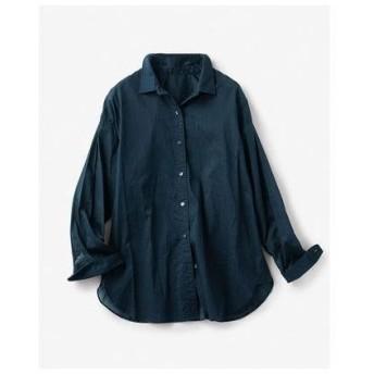 ドゥクラッセ DoCLASSE ウォッシュコットン・ベーシックシャツ (ミッドナイトブルー)